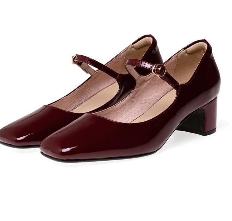 60s Retro Leather Shoes Mary Jane Burgundy - Ma Penderie Vintage