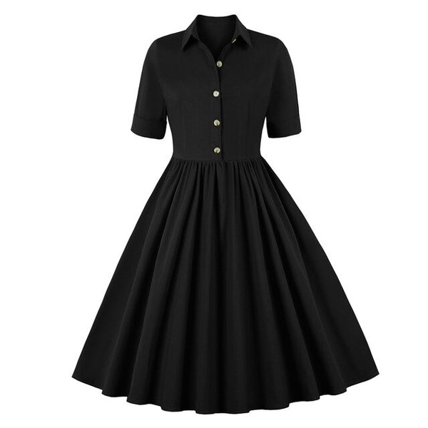 50s Mad Men Black Flared Day Dress - Ma Penderie Vintage