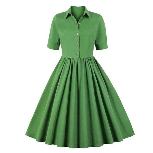50s Mad Men Verge Flared Day Dress - Ma Penderie Vintage