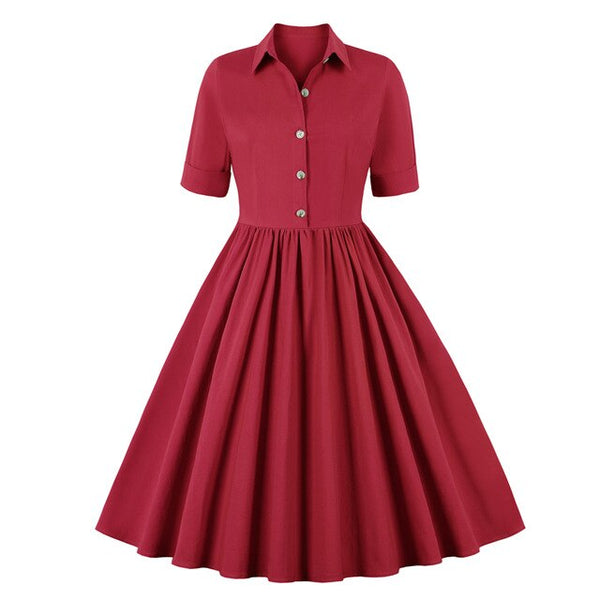 50s Mad Men Flared Day Dress Cranberry - Ma Penderie Vintage
