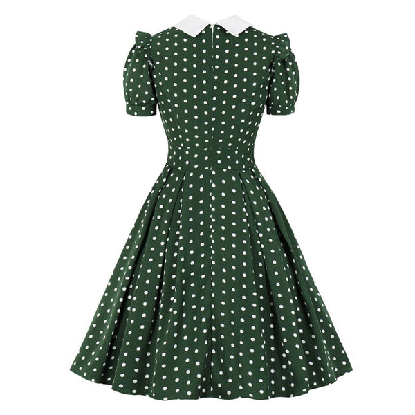60s Polka Dot Dress with Peter Pan Collar Retro Green - Ma Penderie Vintage
