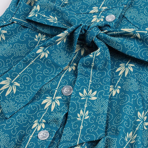 50s Retro Floral Print Flared Dress Blue - Ma Penderie Vintage
