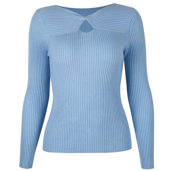 40s Long Sleeve Ribbed Knit Jumper Blue - Ma Penderie Vintage