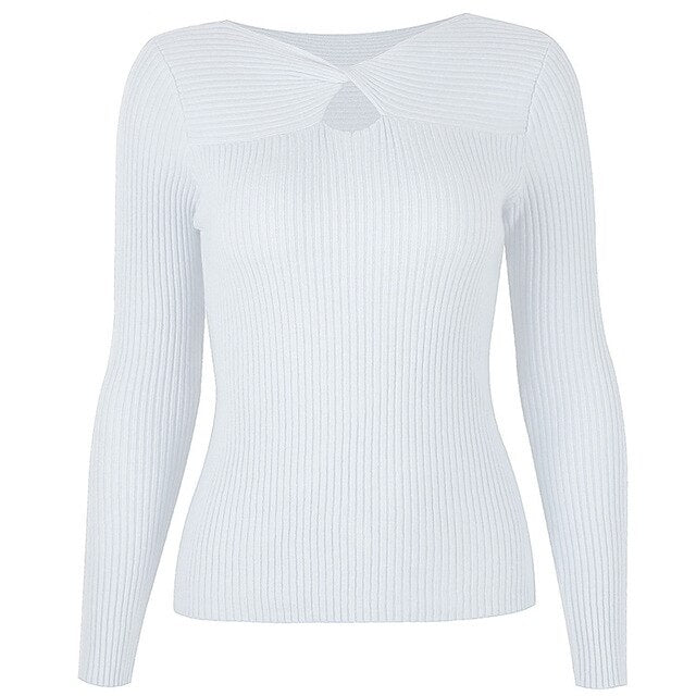 40s Long Sleeve Ribbed Knit Jumper White - Ma Penderie Vintage