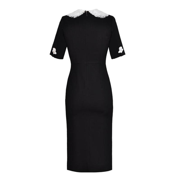 Sixties Vintage Evening Dress Black and White Peter Pan Collar - Ma Penderie Vintage