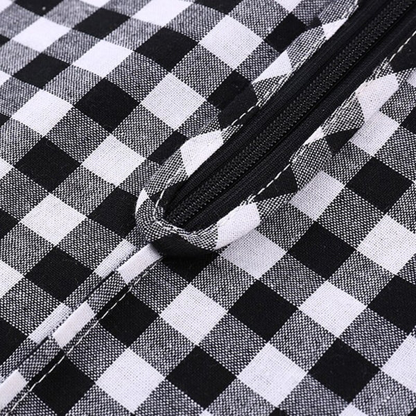 60s black and white retro gingham cotton midi skirt - Ma Penderie Vintage