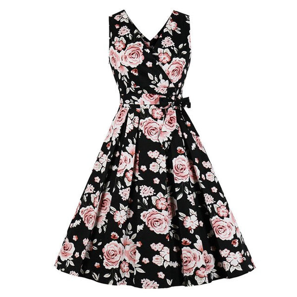 50s Black Floral Print Bow Flared Dress - Ma Penderie Vintage