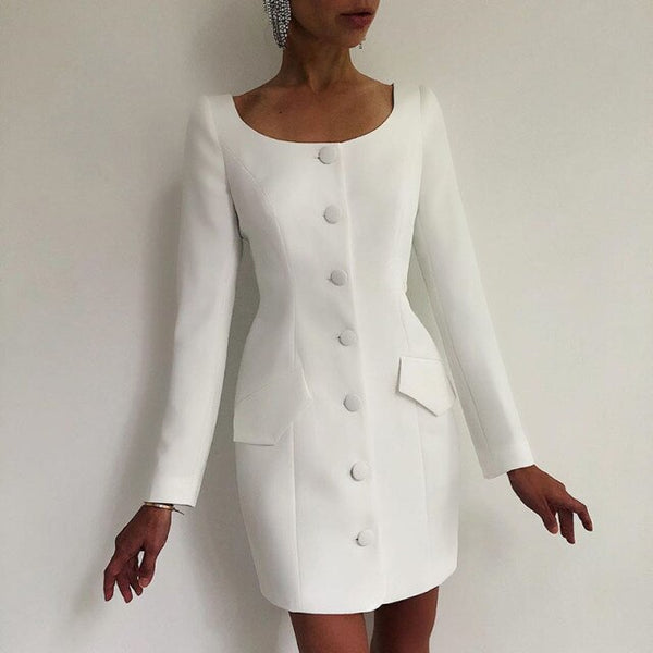 60s White Mademoiselle Buttoned Mini Dress - Ma Penderie Vintage