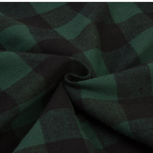 50s Vintage Green Checkered Fur Collar Dress - Ma Penderie Vintage