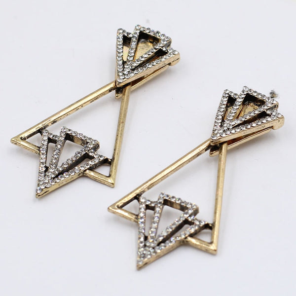 20s Art Deco Gold Triangle Earrings - Ma Penderie Vintage