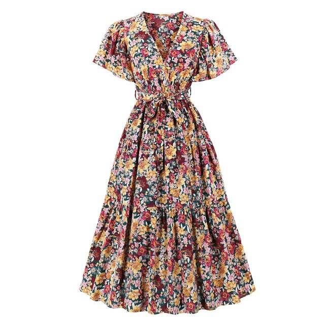 50s Long Autumn Floral Print Dress - Ma Penderie Vintage