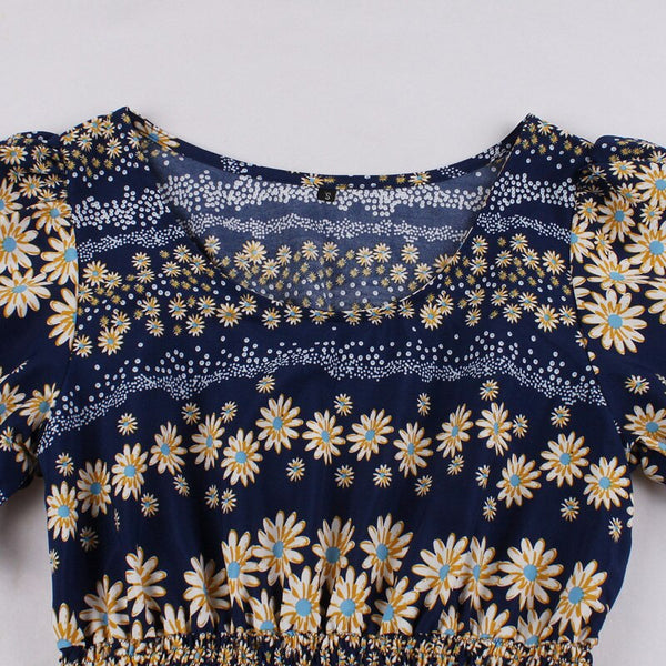 70s Mid-Length Dress in Navy Bohemian Floral Print - Ma Penderie Vintage