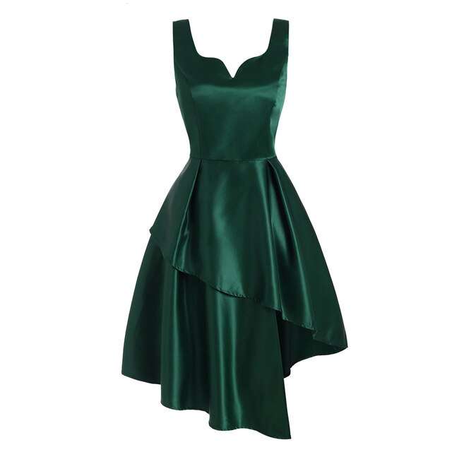 50s Emerald Green Asymmetric Pin Up Cocktail Dress - Ma Penderie Vintage