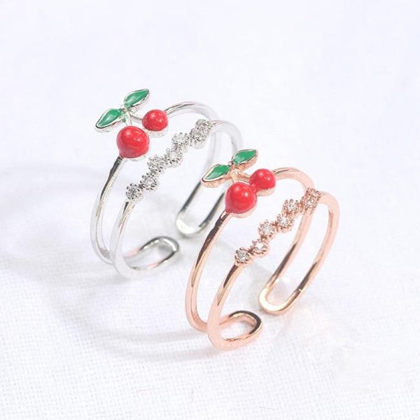 60s Retro Cherry Strass Ring - Ma Penderie Vintage