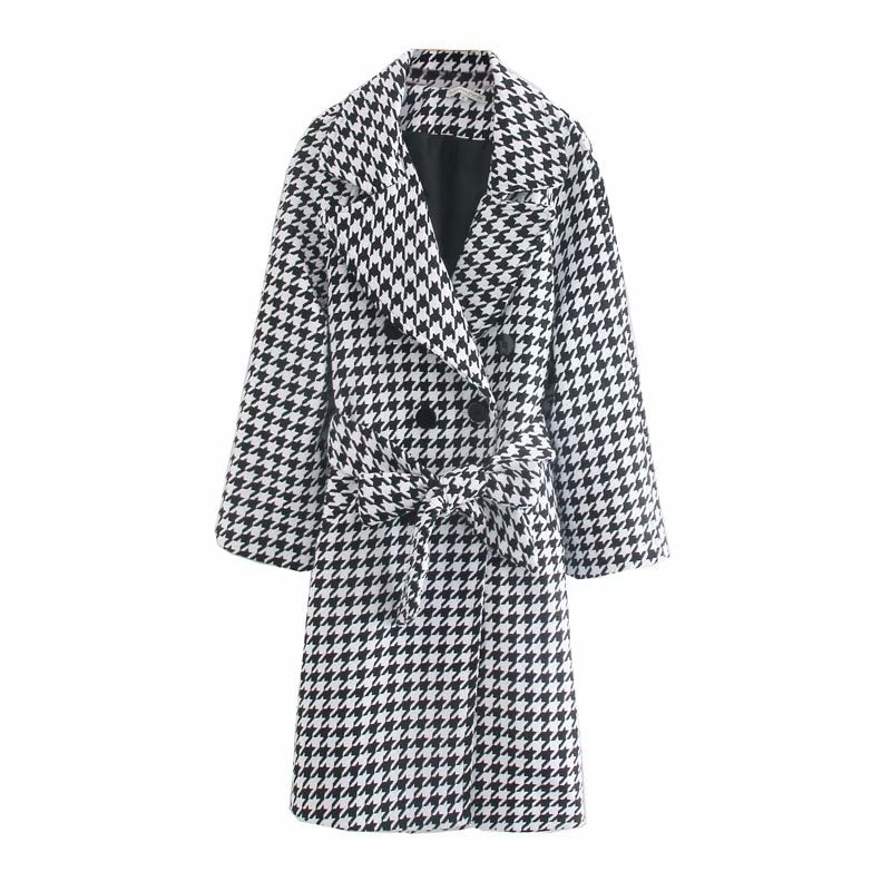 60s Black and White Retro Houndstooth Coat - Ma Penderie Vintage