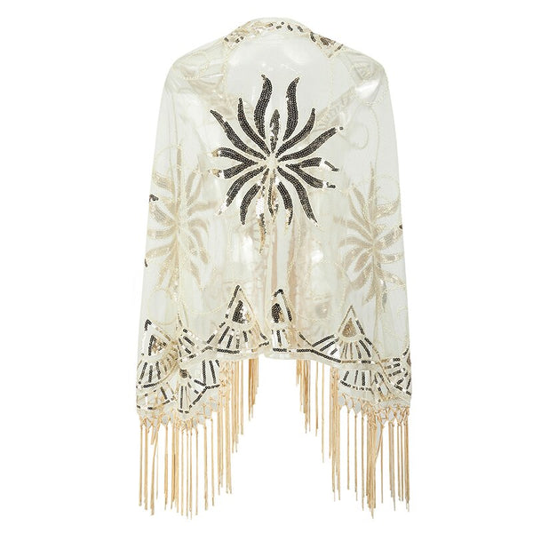 Year 20 Sequin Gatsby Gold Art Deco Shawl Scarf - Ma Penderie Vintage