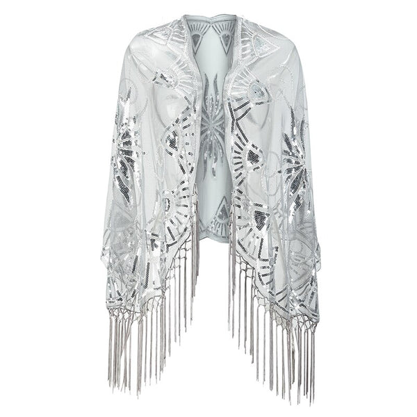 Year 20 Sequin Gatsby Art Deco Shawl Scarf Silver - Ma Penderie Vintage