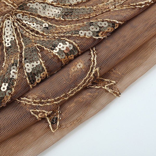 Year 20 Sequin Gatsby Art Deco Shawl Scarf - Ma Penderie Vintage