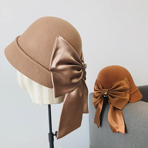 30s Retro Hat Fascinator Maxi Bow - Ma Penderie Vintage
