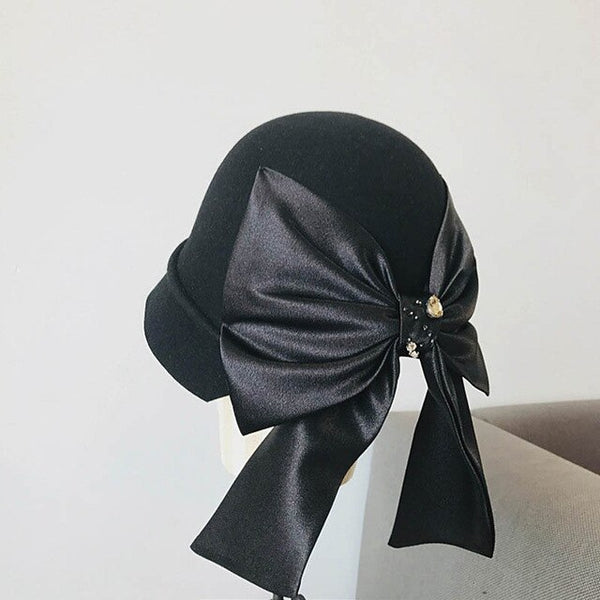 30s Retro Hat Fascinator Maxi Charcoal Bow - Ma Penderie Vintage