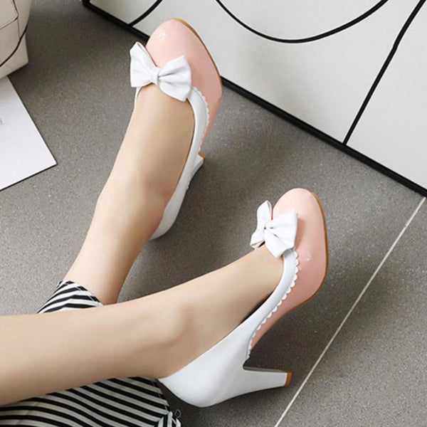 50s Pin Up Lucille Pink and White Heeled Shoes - Ma Penderie Vintage