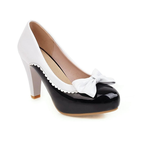 50s Pin Up Lucille Black and White Heeled Shoes - Ma Penderie Vintage