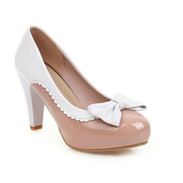 50s Pin Up Lucille Beige and White Heeled Shoes - Ma Penderie Vintage
