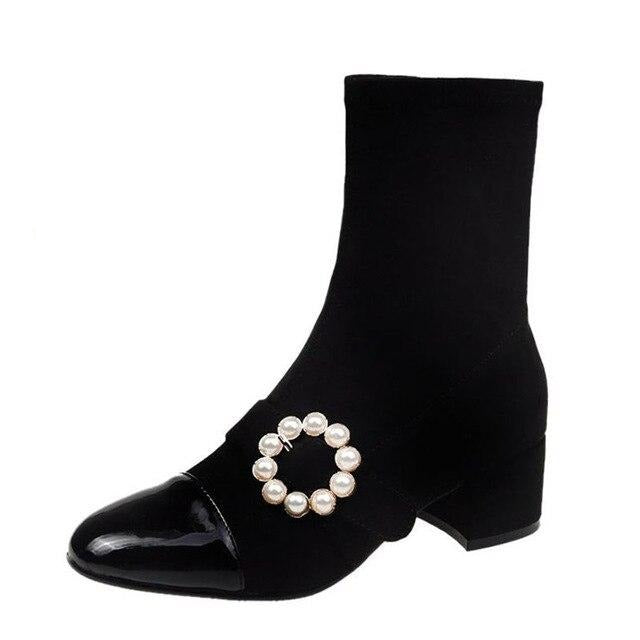 60s Retro Pearl Buckle Boots Black - Ma Penderie Vintage