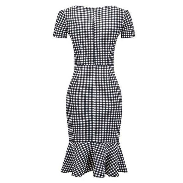 60s Retro Gingham Trumpet Dress Bardot