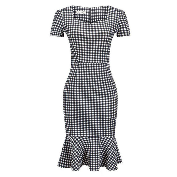 60s Black and White Retro Gingham Trumpet Dress - Ma Penderie Vintage