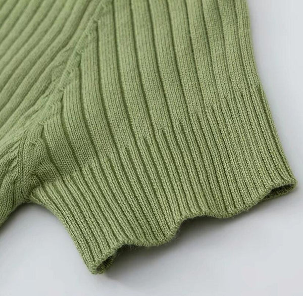 Sixties Retro Knitted Tennis Polo Green - Ma Penderie Vintage