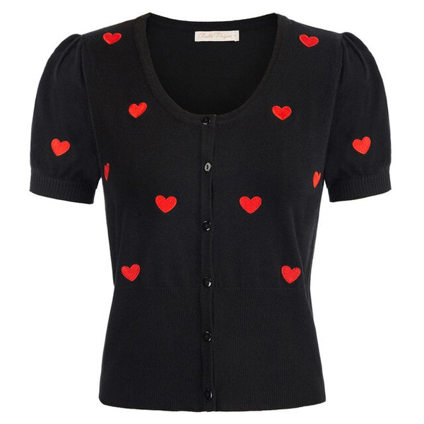 50s Cardigan Embroidery Mini Heart Pin Up Black - Ma Penderie Vintage