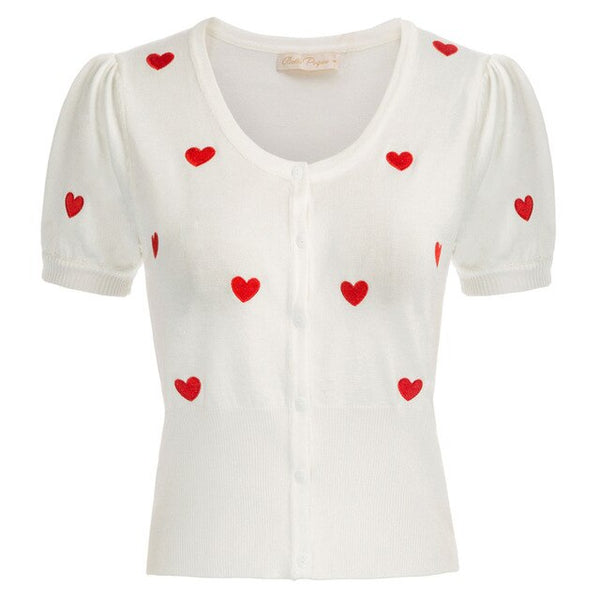50s Cardigan Embroidery Mini Heart Pin Up Ivory - Ma Penderie Vintage