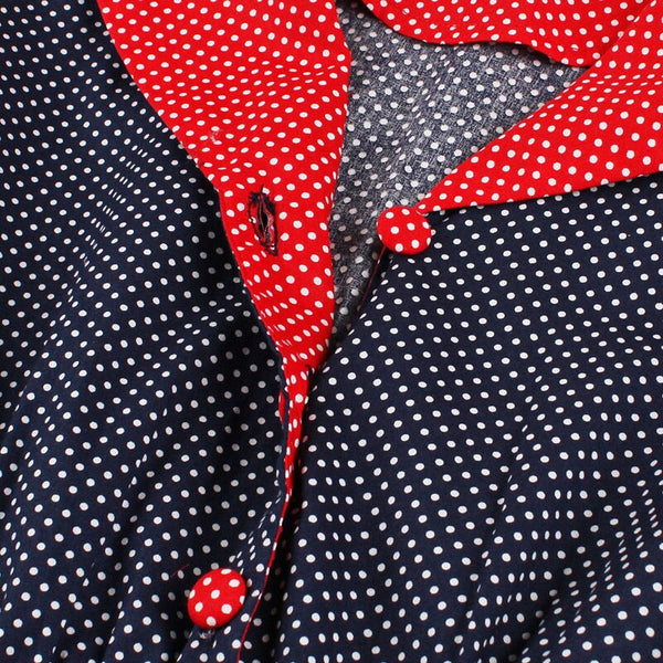 40s Mid-Length Rock Peas A Billy Navy / Red Dress - Ma Penderie Vintage