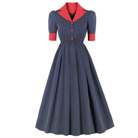 Années 40 Robe Mi Longue Pois Rock A Billy Marine / Rouge - Ma Penderie Vintage
