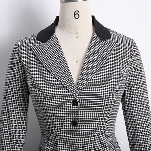 Black and White Retro Houndstooth Day Dress - Ma Penderie Vintage