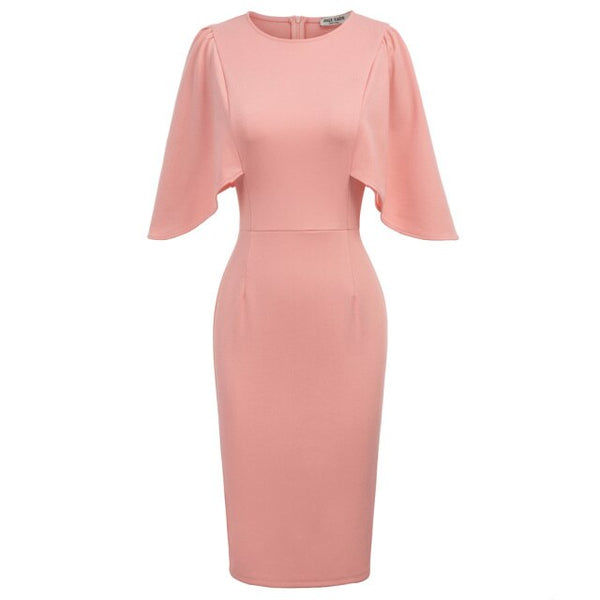 50s Pink Flared Sleeve Pin-up Sheath Dress - Ma Penderie Vintage