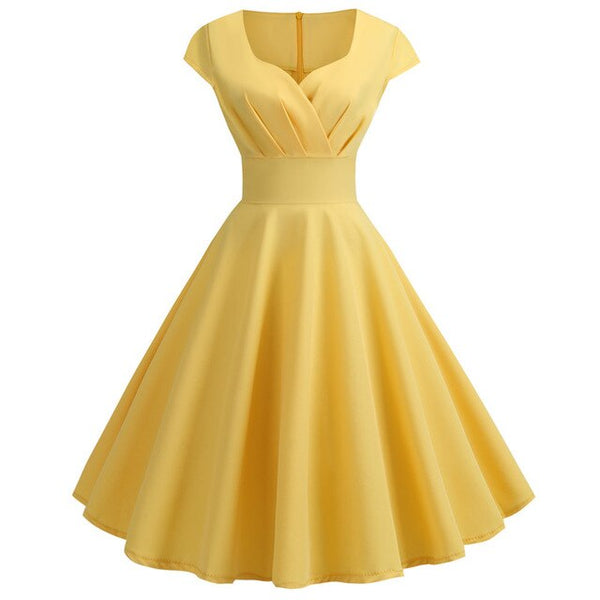 50s Cap Sleeve Flared Dress Dolly Yellow - Ma Penderie Vintage