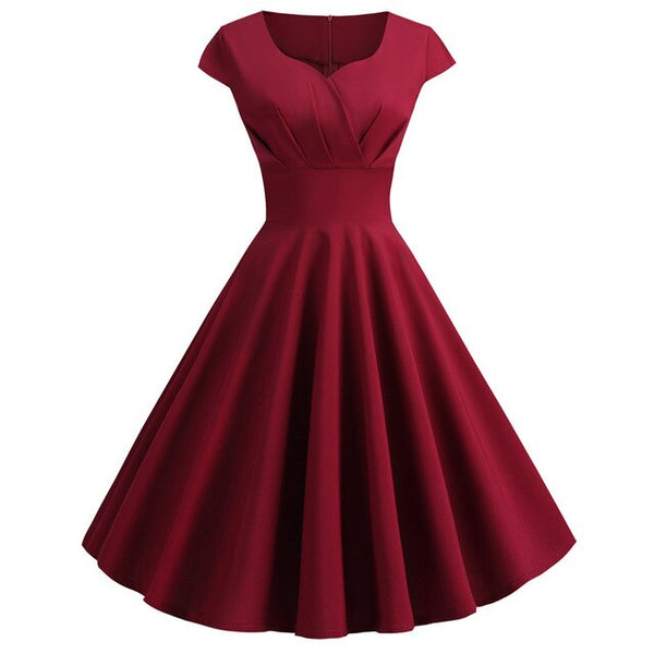 50s Cap Sleeve Flared Dress Dolly Bordeaux - Ma Penderie Vintage