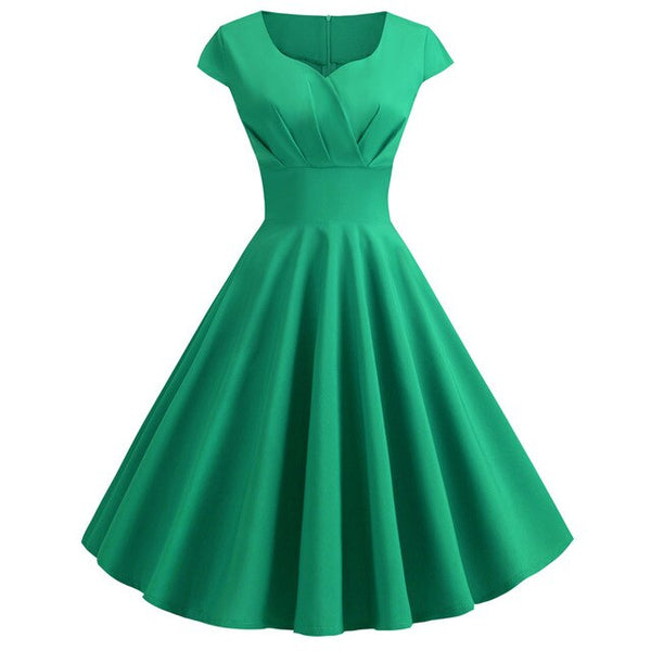 50s Cap Sleeve Flared Dress Dolly Green - Ma Penderie Vintage