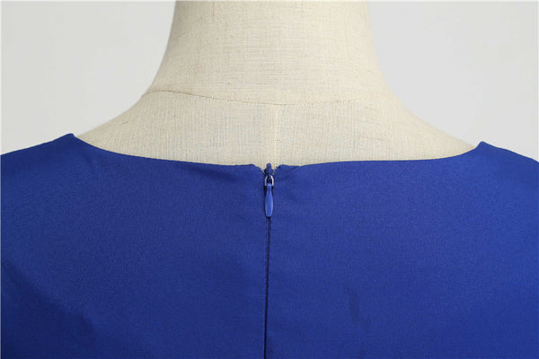 50s Cap Sleeve Flared Dress Dolly Blue - Ma Penderie Vintage