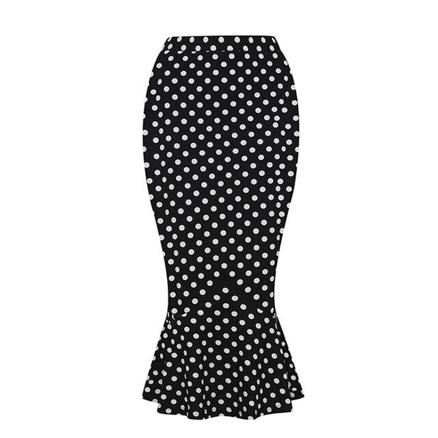 50s Trumpet Skirt Pin Up Polka Dot Black and White - Ma Penderie Vintage