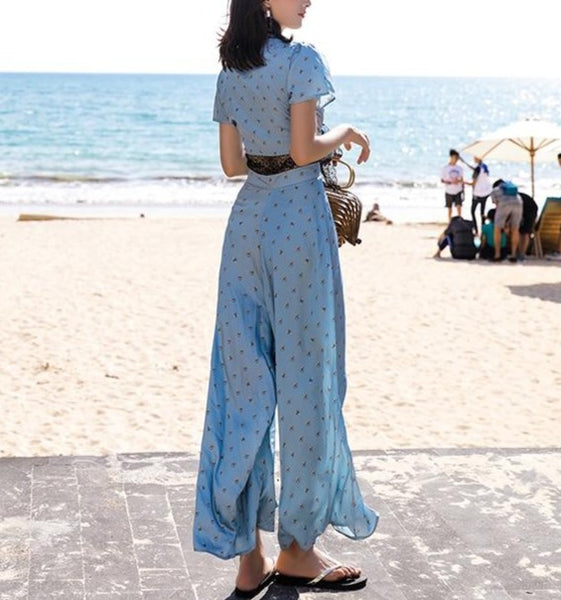 Year 30 Glamor Blue Lace Summer Jumpsuit - Ma Penderie Vintage