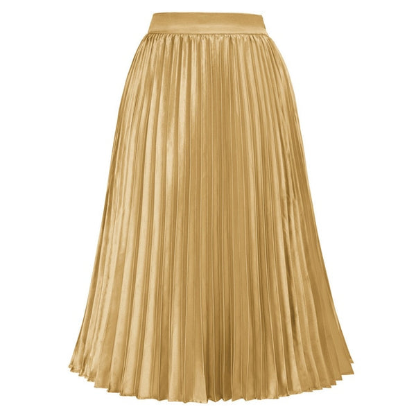 40s Rock A Billy Pleated Midi Party Skirt