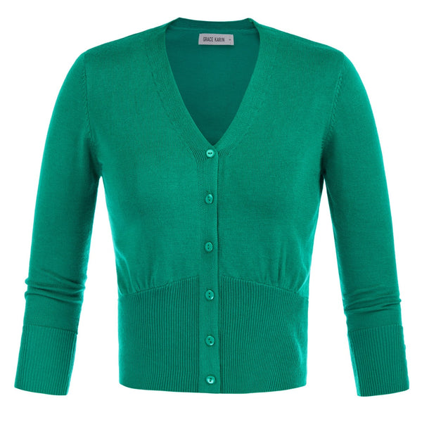 50s Classic Pin-up Short Cardigan Green - Ma Penderie Vintage