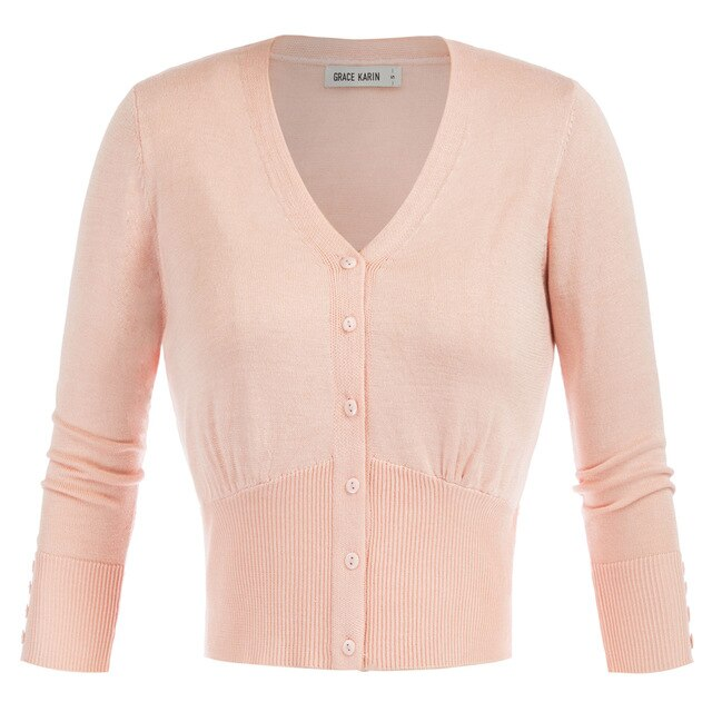 50s Classic Pin-up Short Cardigan Pink - Ma Penderie Vintage