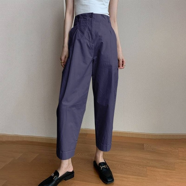 40s Navy Retro High Waist Pleated Trousers - Ma Penderie Vintage