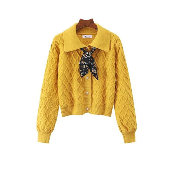 70s Knitted Cardigan Schoolgirl Scarf Yellow - Ma Penderie Vintage