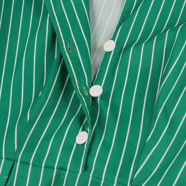 50s Katherine Stripes Trapeze Dress Green Tennis - Ma Penderie Vintage