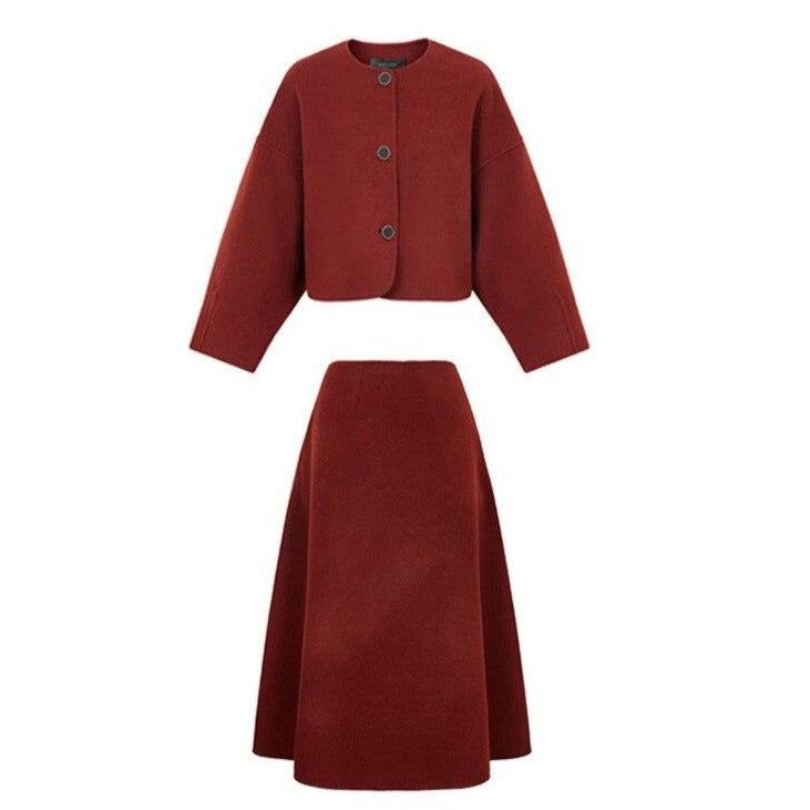 60s Classic Winter Vintage Red Wool Set - Ma Penderie Vintage